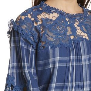 NWT Free People Darling Diana Plaid Peasant Top